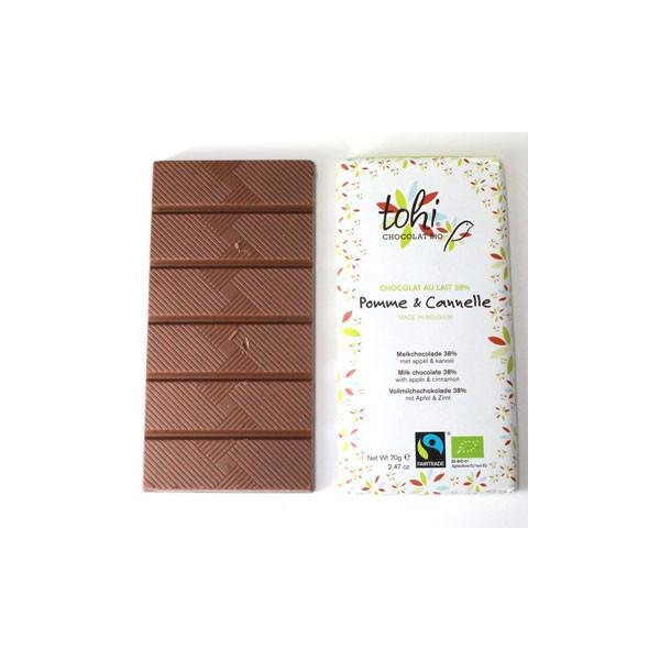 TOHI トヒ ミルクチョコレート カカオ38%〈アップル&シナモン〉70gタブレット