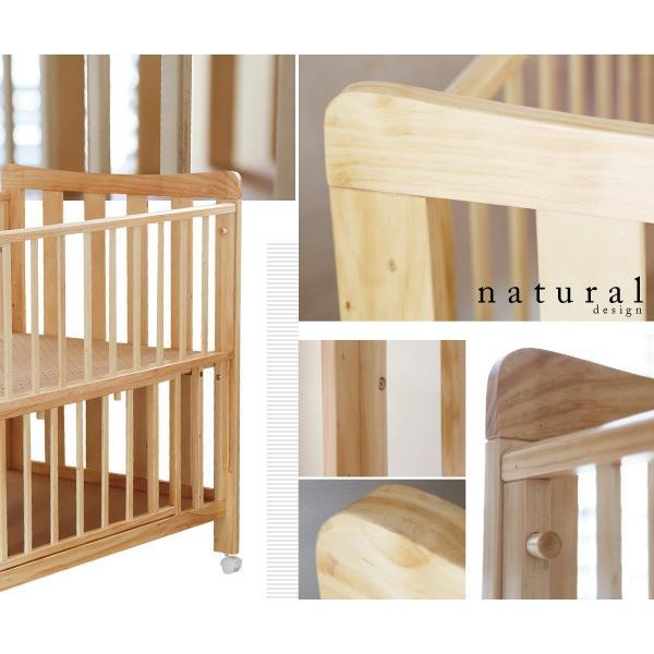 ベビーベッド ハイタイプ 天然木 ベビーベッドココア  高床式 通気性 スライド式 床下収納|bebechambre|03