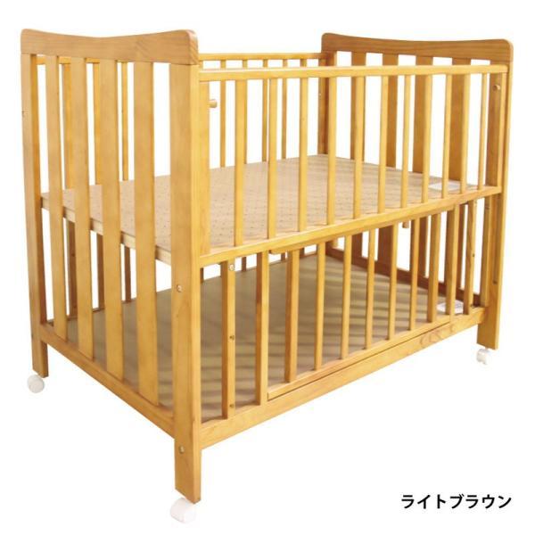 ベビーベッド ハイタイプ 天然木 ベビーベッドココア  高床式 通気性 スライド式 床下収納|bebechambre|10