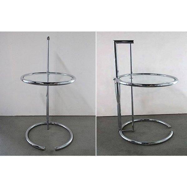 パール サイドテーブル ガラステーブル アイリーングレイ デザイナーズ リプロダクト E1027 4段階調節 モダン|bebeimport