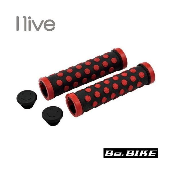 I live スマイルロックオングリップ ブラック/レッド 自転車 グリップ