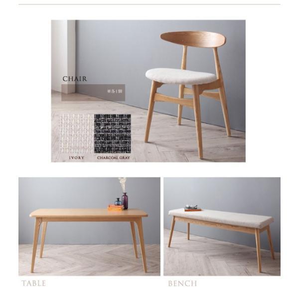 ダイニングテーブルセット 5点 〔テーブル幅150cm+チェア4脚〕 ミックス スタッキング bed-lukit 16