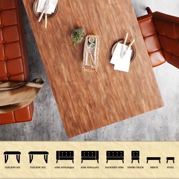 ダイニングテーブル アイアン脚 150cm×80cm 古木風 インダストリアル|bed-lukit|03
