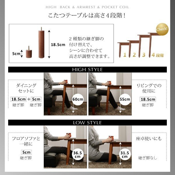 ダイニングテーブルセット 6点 〔テーブル105cm+右肘ソファ1脚+左肘ソファ1脚+1Pソファ2脚+コーナーソファ1脚〕 高さ調整可能  ハイバック bed-lukit 14