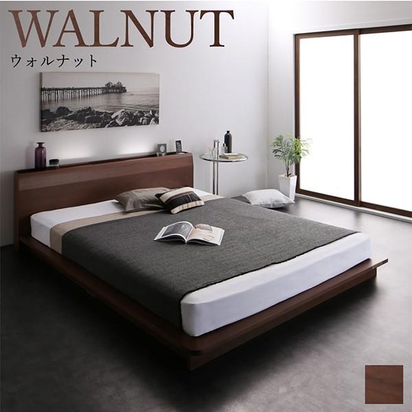 ローベッド シングル 〔ベッドフレームのみ〕 棚 コンセント LED照明付き 高級モダン 低めのベッド bed-lukit 18