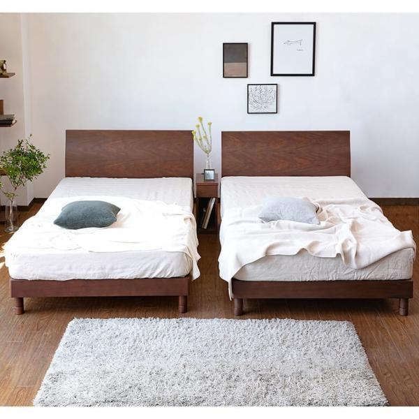 シングルベッド 木製ベッド カルディナ ウォールナット シングル 木製 すのこ 上質 シンプル エレガント 曲線 2段階 高さ調整 マットレス別売り|bed|03