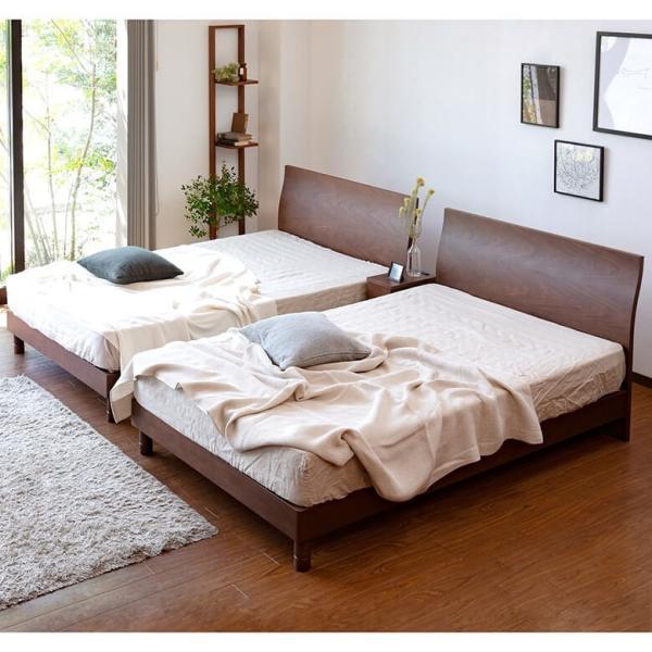 シングルベッド 木製ベッド カルディナ ウォールナット シングル 木製 すのこ 上質 シンプル エレガント 曲線 2段階 高さ調整 マットレス別売り|bed|07
