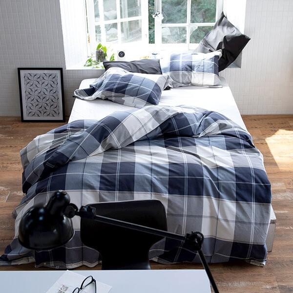 掛け布団カバー ダブル 綿100% アクロス 190×210cm 先染ツイル ブロックチェック シック シンプル ネイビー 柄物 上質 掛布団カバー 掛けカバー ふとんカバー|bed|02