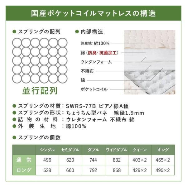 ポケットコイルマットレス ワイドダブルロング 国産 日本製|bed|12