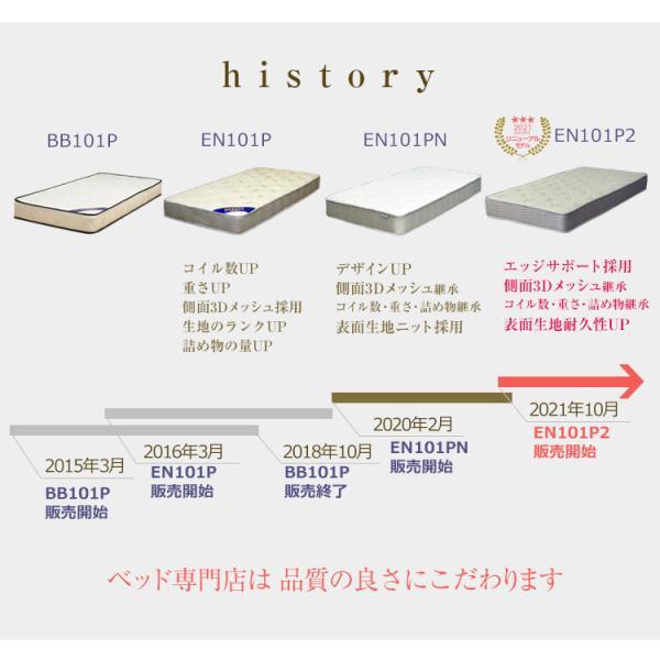 マットレス ポケットコイル シングル または 85スモールシングル ベッド用 ポケットコイルマットレス EN101P|bedandmat|02