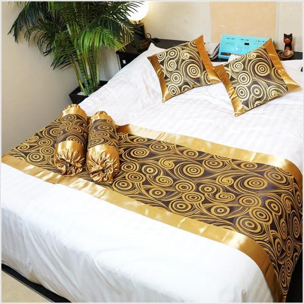 ベッドスロー ベッドライナー キング、クイーンサイズ、ダブル 250×70 ゴールド×グレー No.5|bedrunner