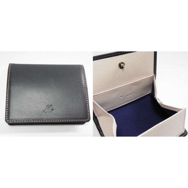 Kitamura/キタムラ レザー・コインケース/小銭入れボックス型ダークブルー×ピンクY190426001箱無し 未使用 Y0