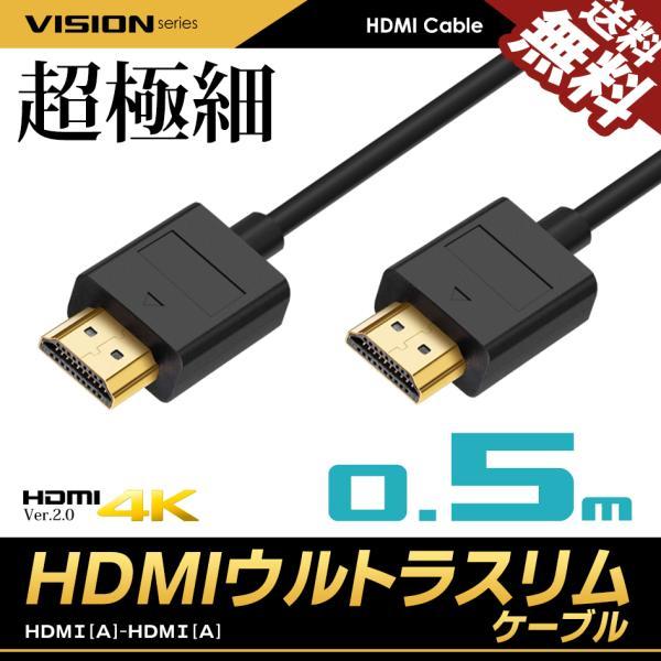 HDMIケーブルウルトラスリム0.5m50cm超極細直径約3mmVer2.04K60HzNintendoswitchPS4Xbo