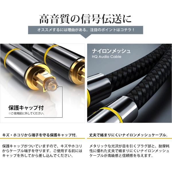 光デジタルケーブル 10m オーディオ TOSLINK 角型プラグ 24K金メッキ メタルコネクタ ナイロンメッシュ プレミアム