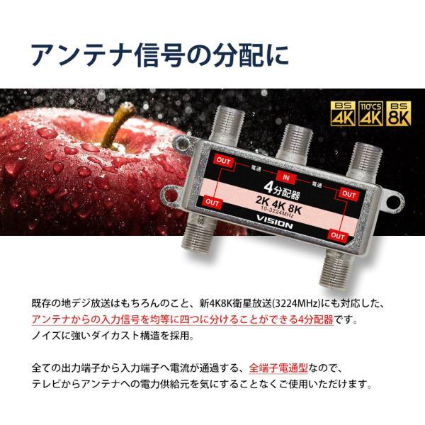 4分配器 4K 8K 対応 TV テレビ アンテナ 全端子電通型 3.2GHz F型 地デジ BS CS 衛星放送 分配