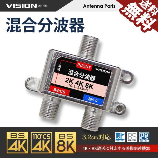 混合分波器 4K 8K 対応 TV テレビ アンテナ 3.2GHz F型 地デジ BS CS 衛星放送