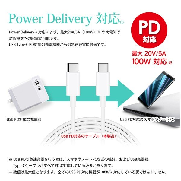 USB充電ケーブル Type-C to Type-C PD対応 高速 急速 充電 MAX 5A 20V 100W スマホ タブレット ノートPC Power Delivery 2m 送料無料|beebraxs|02