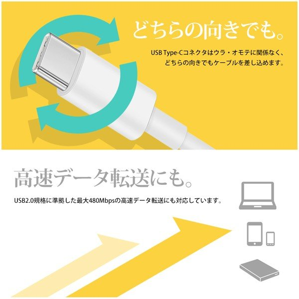 USB充電ケーブル Type-C to Type-C PD対応 高速 急速 充電 MAX 5A 20V 100W スマホ タブレット ノートPC Power Delivery 2m 送料無料|beebraxs|03