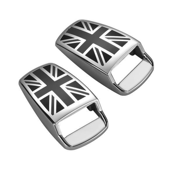 BMW MINI ウォッシャー ノズル カバー ブラックユニオンジャック×メッキ 2個セット ミニクーパー MINI COOPER カスタムパーツ アクセサリー 外装 ドレスアップ|beetech-japan
