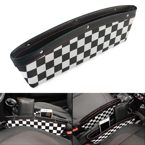 チェッカーフラッグ柄 小物入れ PUレザー製 シートの隙間に設置 BMW MINIなどに最適 シートギャップ 革製 ミニクーパー カスタムパーツ アクセサリー 内装 収納 beetech-japan