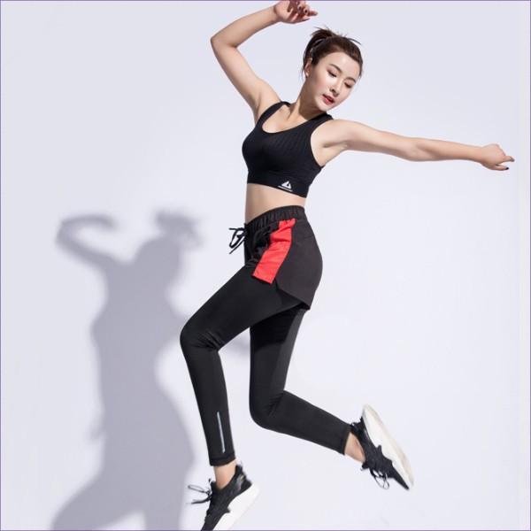 スポーツパンツ レギンス 重ね着風 ヨガ  ホットヨガ トレーニング フィットネス ジム かわいい 送料無料|befun|02