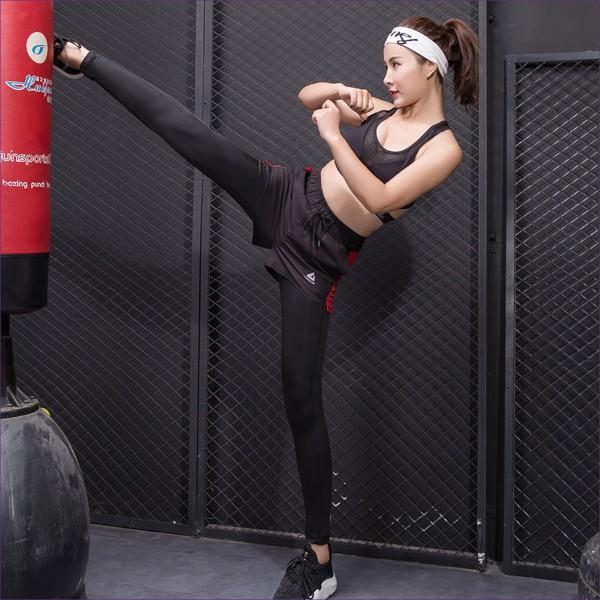 スポーツパンツ レギンス 重ね着風 ヨガ  ホットヨガ トレーニング フィットネス ジム かわいい 送料無料|befun|05