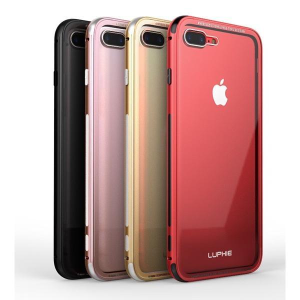 全面ガラスフィルム付き iphone7 iPhone7 Plus ガラスケース アルミバンパー Glass 強化ガラス カバー  透明 クリア