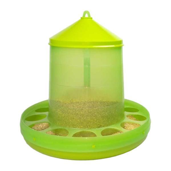 【餌入れ】自動給餌器(スケルトン緑) 容量12Kg 【にわとり・ちゃぼ・うこっけい】