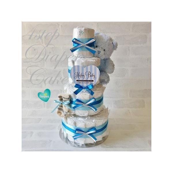 おむつケーキ 出産祝い 男 オーガニックコットンソックス付き ベビー ギフト 4段オムツケーキ