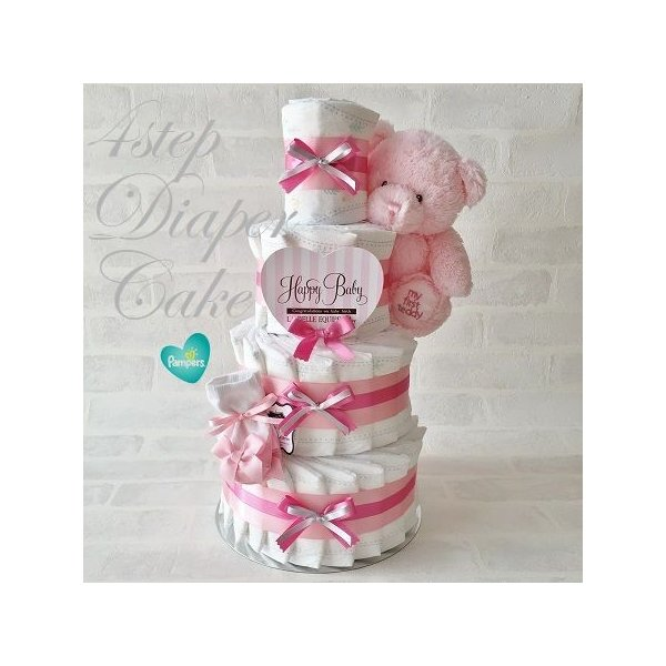 おむつケーキ 出産祝い 女 オーガニックコットンソックス付き ベビー ギフト 4段オムツケーキ