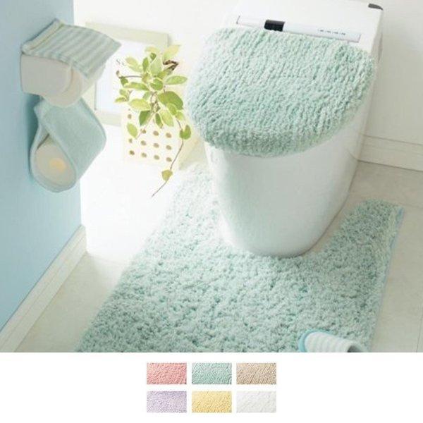 トイレマット トイレマットセット トイレマットのみ 洗える ロング ミニ 標準 おしゃれ シンプル ふかふか ふわふわ 新生活 円形 四角 温水洗浄 ミントグリーン