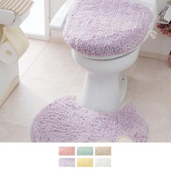 トイレマット トイレマットセット トイレマットのみ 洗える ロング ミニ 標準 おしゃれ シンプル ふかふか ふわふわ 新生活 円形 四角 温水洗浄 紫色 パープル