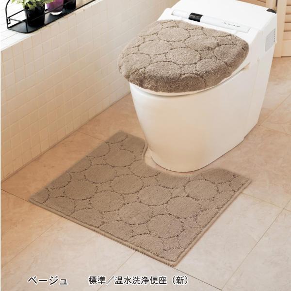 トイレマットセット 洗える トイレマット フタカバー セット 2点セット おしゃれ シンプル ふかふか 滑りにくい 抗菌 防臭 新生活 標準 温水洗浄 ベージュ|bellemaison|03