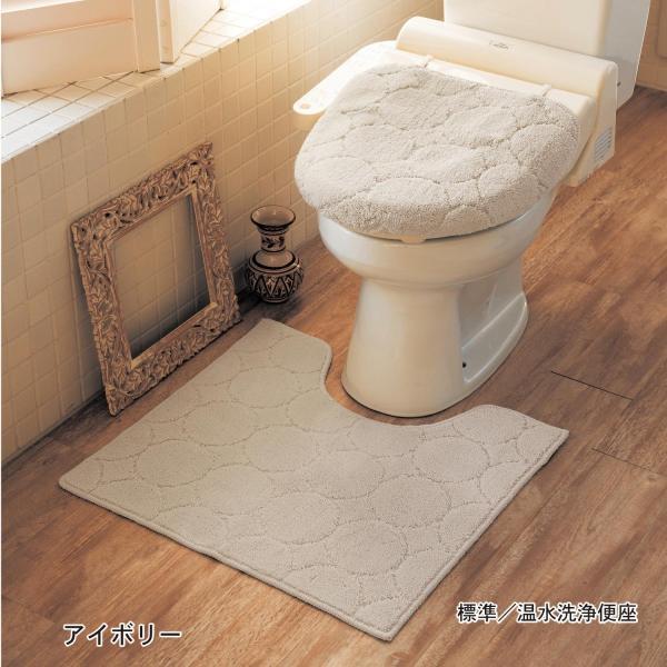 トイレマットセット 洗える トイレマット フタカバー セット 2点セット おしゃれ シンプル ふかふか 滑りにくい 抗菌 防臭 新生活 標準 温水洗浄 ベージュ|bellemaison|06