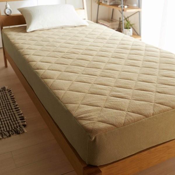 ボックスシーツ型敷きパッド 綿100% ソフトパイル 敷パッド ボックス パッド シーツ 敷 一体型 寝具 ベッド 洗える ベージュ セミダブル
