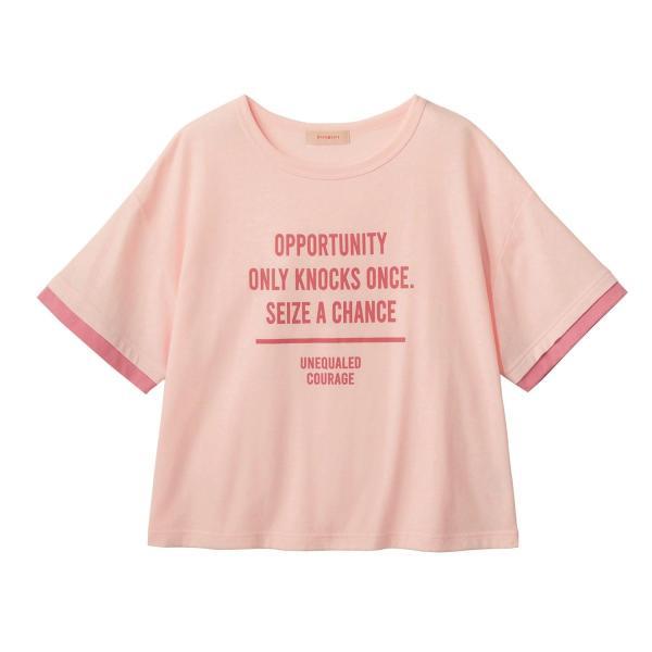 ベルメゾン 汗染みが目立ちにくい!レイヤード風半袖Tシャツ ピンク J-XXS(135〜145) J-XS(145〜155) J-S(150〜160) J-M(155〜165)