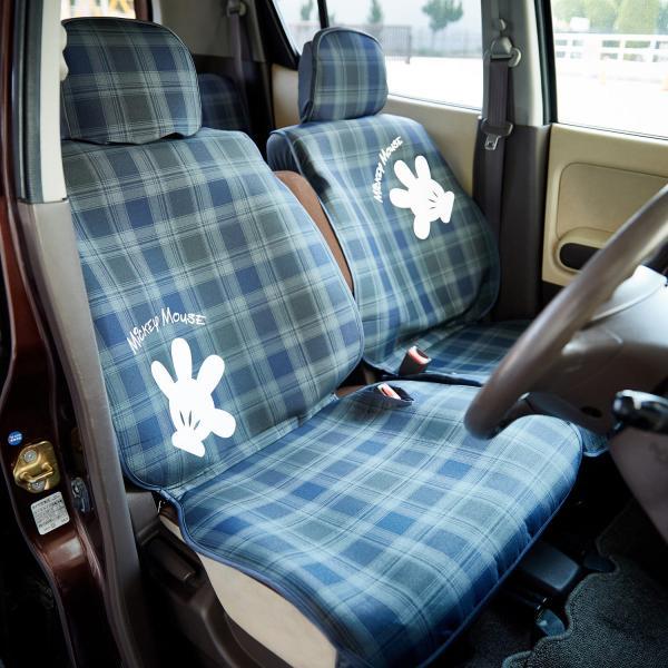 ディズニー チェックの軽自動車用カーシートカバー(選べるキャラクター) ミッキーマウス フロント用2枚 リア用2枚