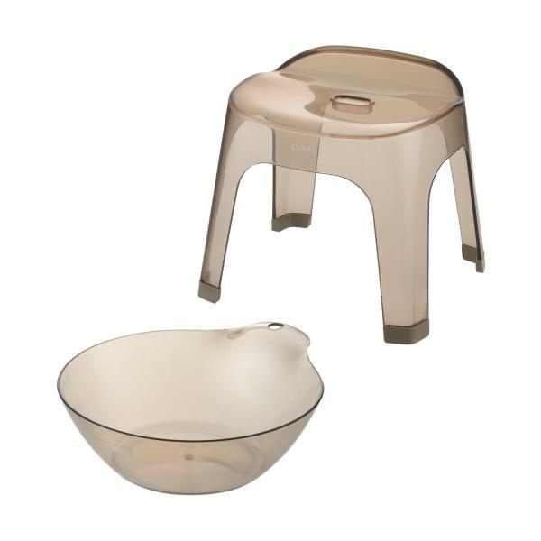 ニュアンスカラーが美しい風呂桶&バスチェアセット ブラウン 30cm
