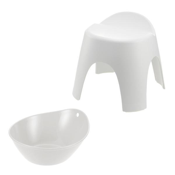 穴がなくてお手入れしやすい風呂桶&バスチェアセット ホワイト 30cm BML20C