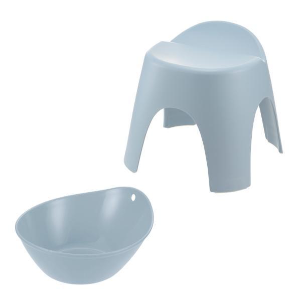 穴がなくてお手入れしやすい風呂桶&バスチェアセット ブルー 30cm BML20C