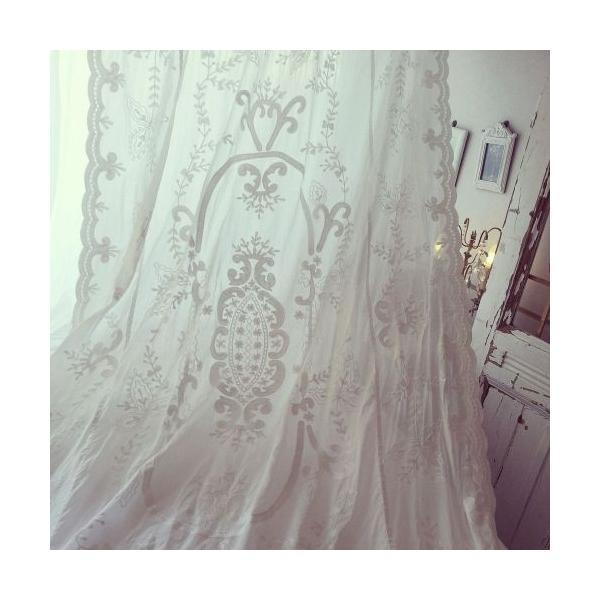 手刺繍レースクロス メゾン・ド・タムタム MAISON DE TAM TAM アメリ TALL 140x270cm T03 ベットカバー カーテン テーブルクロス|bellemessage|02