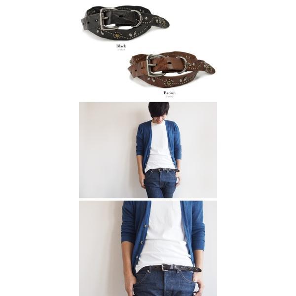 ベルト メンズ レディース スタッズベルト/Calm Albireo/細め ダメージレザー 本革ベルト|beltlab-y|03