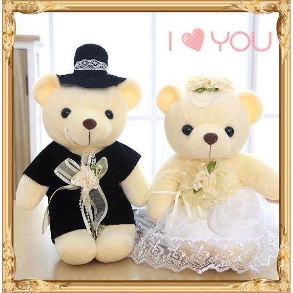 結婚式 ぬいぐるみ ウェディング くま クマ 熊 お祝い プレゼント 贈り物 花屋 飾り物 25cm|beluhappines