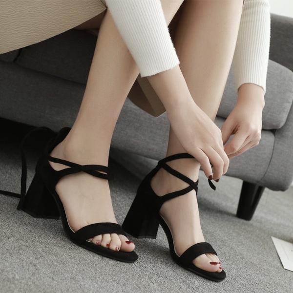 サンダル sandal レディース 7cmヒール 黒色 ブラック スエード 歩きやすい 2017新作 夏用