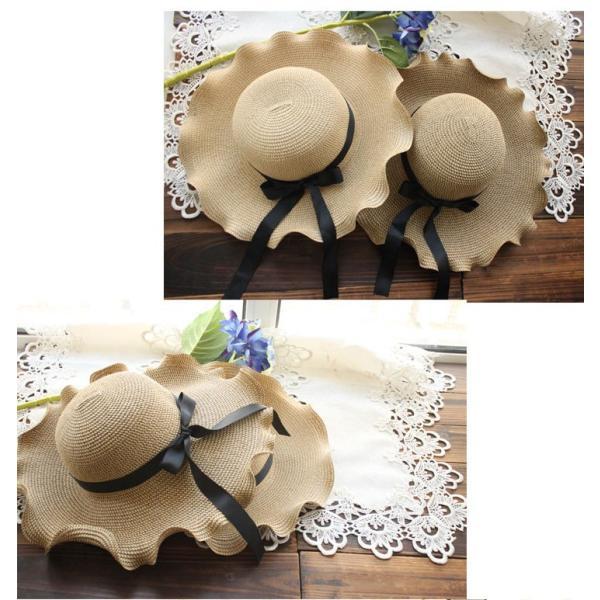 ハット  ロングブリム 帽子 麦わら 帽子 波型 レディース  女優帽 リボン付き つば広ハット 日よけ帽子 紫外線対策