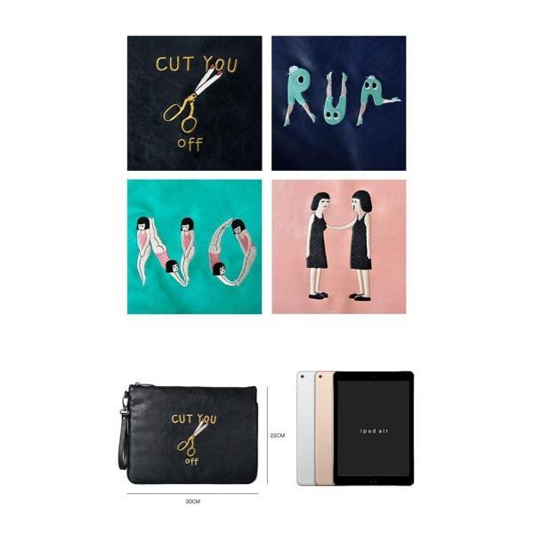 Kiitos Life PU クラッチバッグ (CUT、RUN、NO、TOUCH) iPad ユニーク ファッション小物 男女兼用 バッグ
