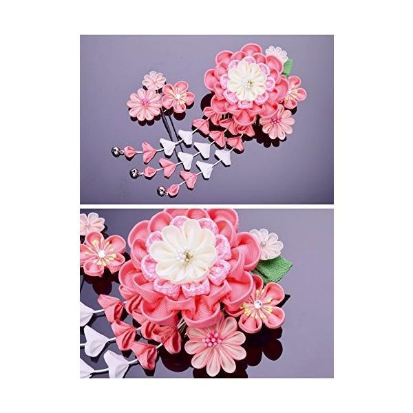 七五三 髪飾り 2点セット つまみ細工 ピンク 成人式 浴衣 卒業式 結婚式 かんざし 簪 髪かざり ゆかた 浴衣 通販