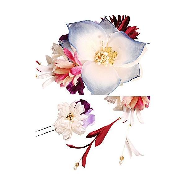 bijou花髪飾りセット 204015b かんざし2点セット ブルー 青色 成人式 七五三 浴衣 卒業式 結婚式 簪 髪かざり ゆかた 浴衣