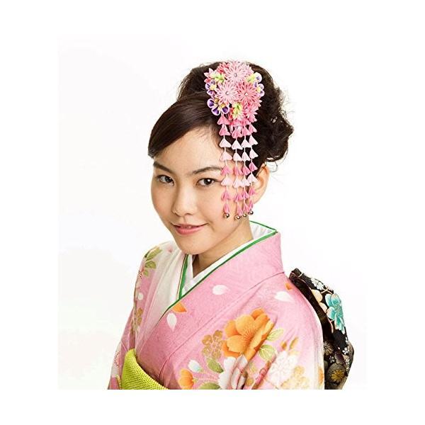 つまみ細工 髪飾り 916215p ピンク 桃色 シルク ちりめん 成人式 七五三 浴衣 卒業式 結婚式 簪 髪かざり ゆかた 浴衣 通販