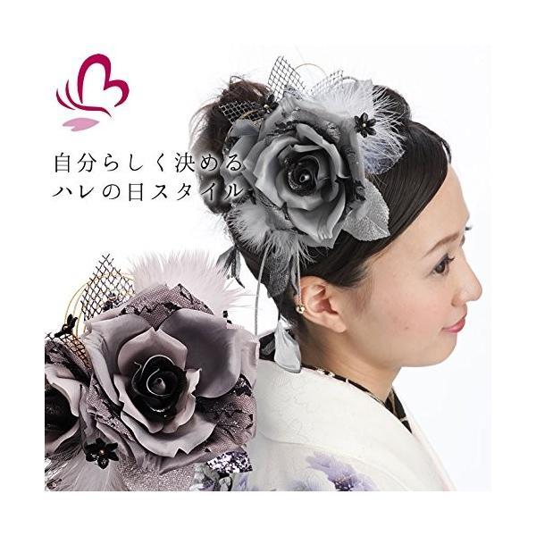 花髪飾り かんざし マリアローズ シルバー 成人式 振袖 卒業式 袴 着物 和装 髪型
